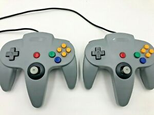 Lot-of-2-Aftermarket-N64-Controllers-Gray-Nintendo-64