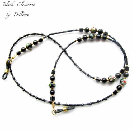 ✫BLACK CLOISONNE✫ HANDCRAFTED BEADED EYEGLASS GLASSES SPECTACLES HOLDER CORD