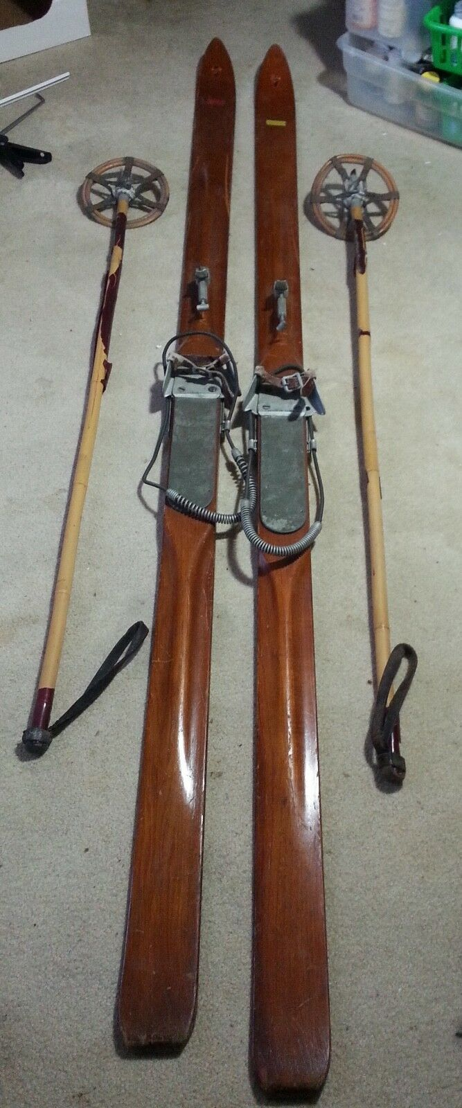 Antique Snow Ski's, 1920s, Wood and Leather Poles, Bamboo