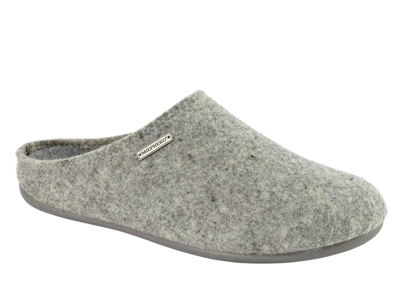 Shepherd Gr. 34/8554 Jon Hausschuhe Pantoffeln Fußbett grau Wolle Gr. Shepherd 41 - 46 Neu c06fbc
