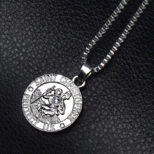 SILVER SAINT CHRISTOPHER PROTECT US PENDANT NECKLACE ST 50cm CHAIN UK SELLER
