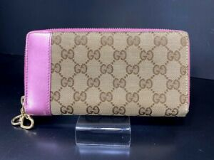 Auth-GUCCI-GG-Pattern-Heart-Charm-Pink-Leather-Bifold-Long-Wallet-Purse-Y1156