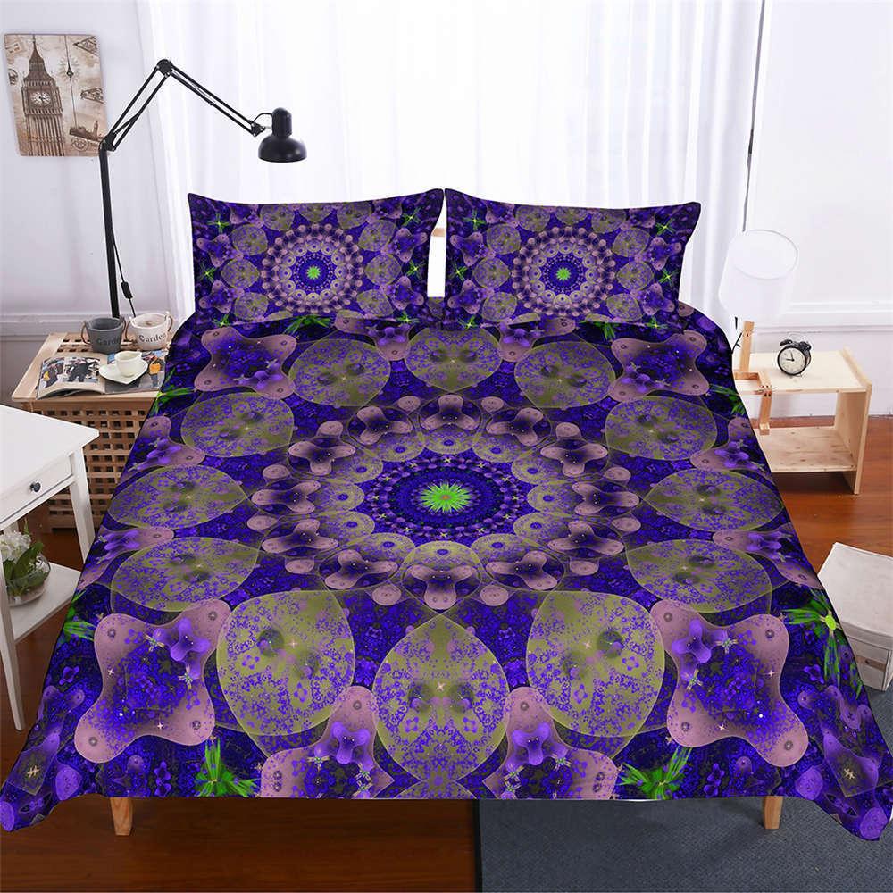 Golden lila Auspicious 3D Digital Drucken Bettding Duvet Quilt Startseite Pillowcase