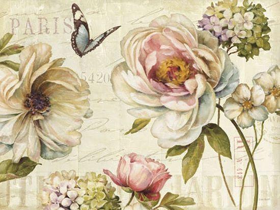 Lisa Audit  Marche de Fleurs IV Keilrahmen-Bild 60x80 Leinwand Blaumen Stillleben