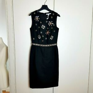 Boden-Black-Pencil-Dress-Embellished-Sequins-Beads-Size-6-BNWT-XMAS