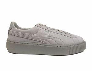 b29b4bf8754 PUMA Women s BASKET PLATFORM RESET Shoes Grey Violet 363313-01 b