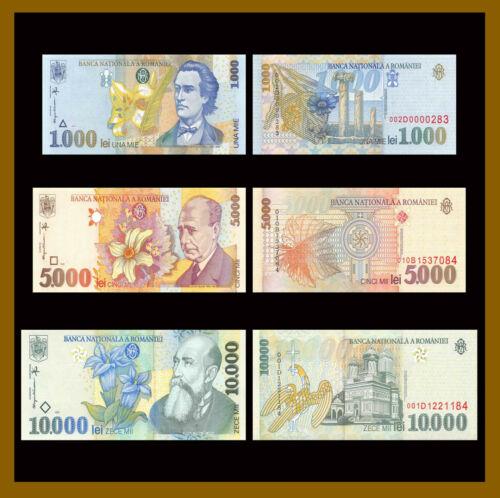 1998-99 P-106//107b//108 Unc 3 Pcs Set Details about  /Romania 1000 5000 10000 Lei