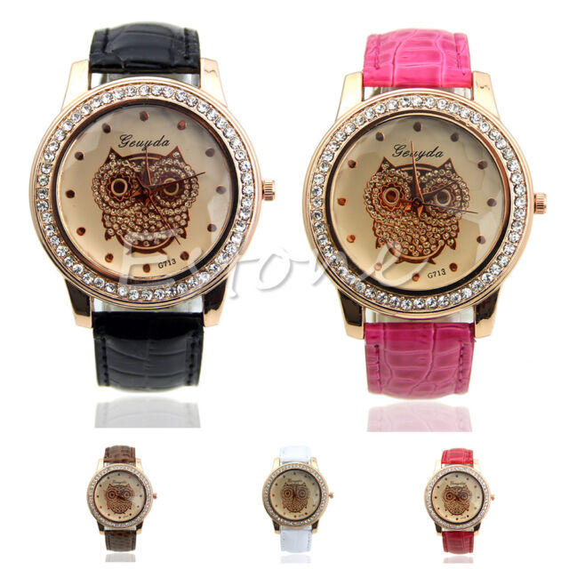 New Women Champagne Owl Bird Bling Rhinestone Decorated Quartz Analog Wristwatch