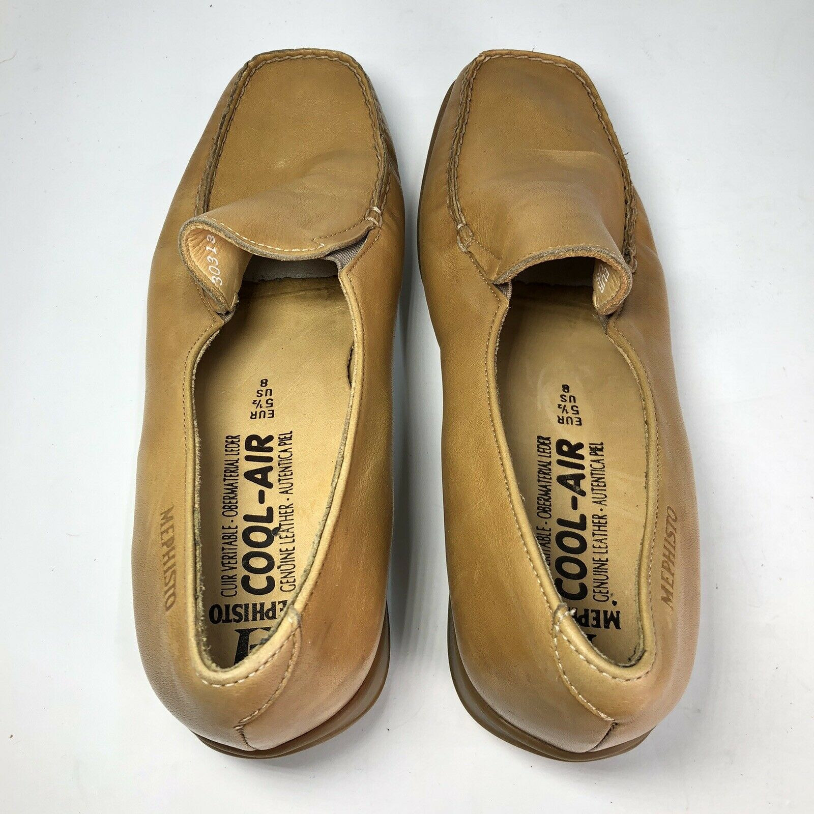 Mephisto Tan Leather Square Slip On Womens Flats … - image 6