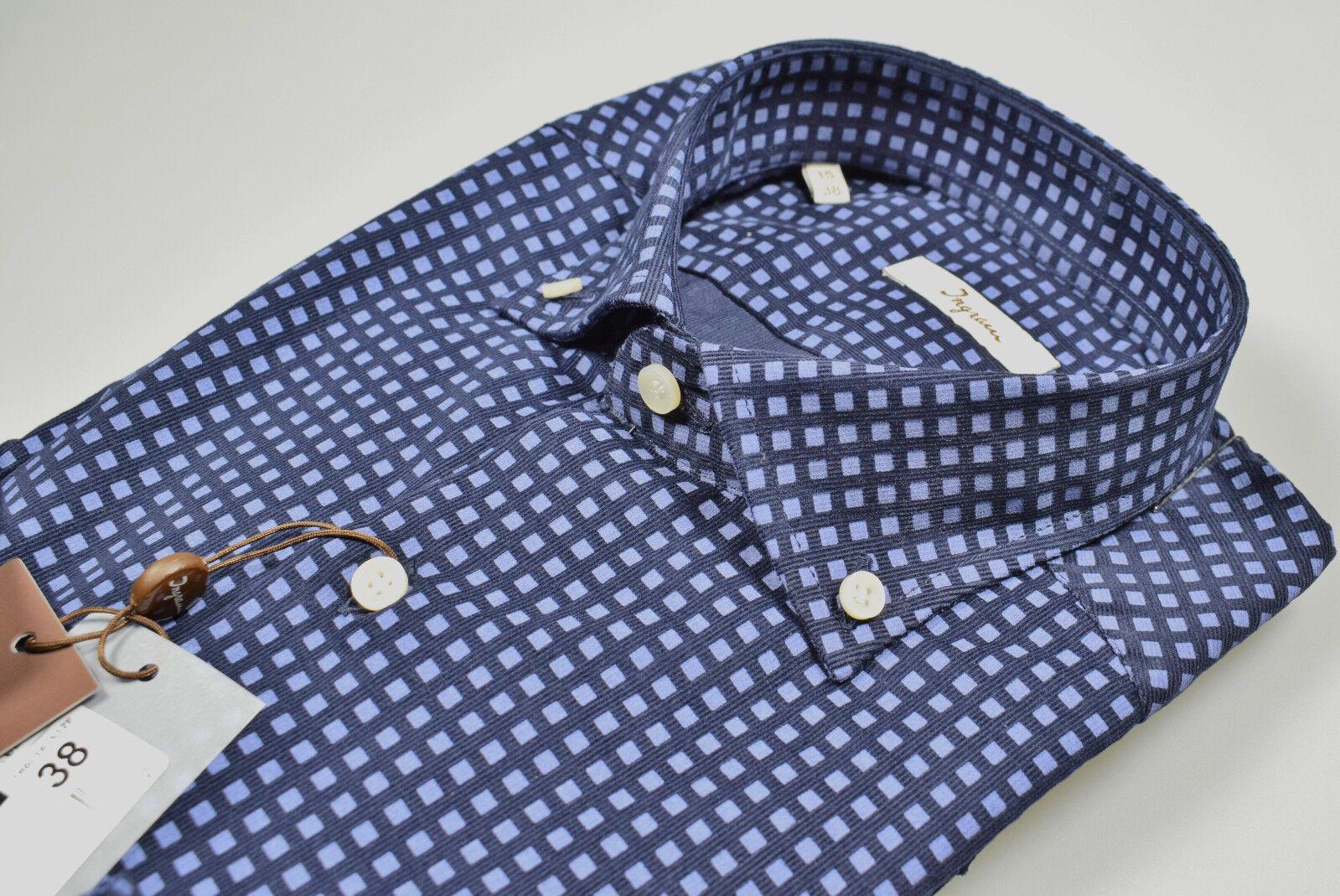 Camicia Moda Blu in Velluto Velluto Velluto stampato Ingram Button Down Regular Fit Inverno18 19 e8e509