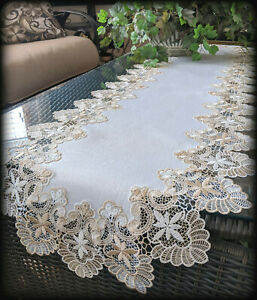 """Dresser Scarf Lace Table Runner 55""""x16""""  Doily Neutral Beige Tan Antique White"""