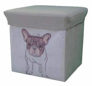Super Details About Frenchie French Bulldog Dog Foldable Storage Stool Ottoman 12 Inch Cube Andrewgaddart Wooden Chair Designs For Living Room Andrewgaddartcom
