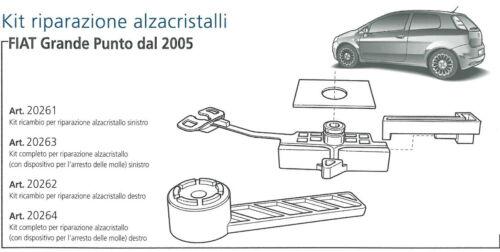 FIAT GRANDE PUNTO 2005/> KIT COMPLETO ARRESTO MOLLE RIPARAZIONE ALZACRISTALLI DX