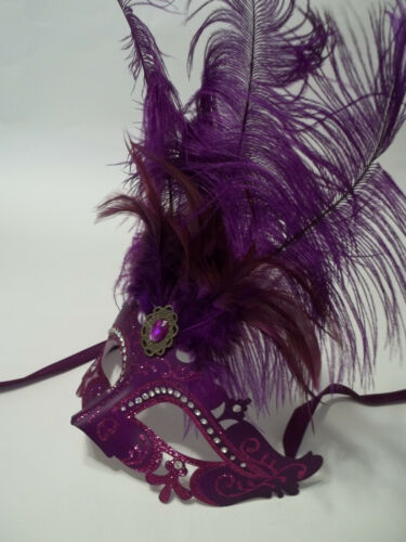 Pink or Light Blue Princess Oval Feather Mardi Gras Masquerade Mask