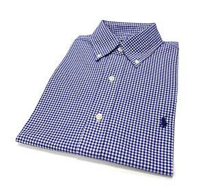 Ralph-Lauren-Para-hombres-Calce-Clasico-Camisa-a-Cuadros-en-Azul-Blanco-Talla-S