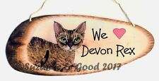 Devon Rex cat We Love from original painting laminated sign by Suzanne Le Good