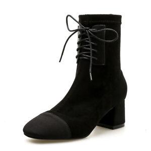 5 Stiefel Schwarz Leder Quadrat Absatz Komfortabel Elegant Cm Simil Stiefeletten 5Rq4j3LAc