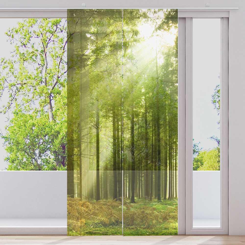 Barre rideau 2 2 2 pièces par 60x245cm transparent motif