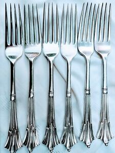 6-Rare-Grand-Victorian-Antique-ALBANY-Large-Dinner-Table-Forks-Sheffield-Silver
