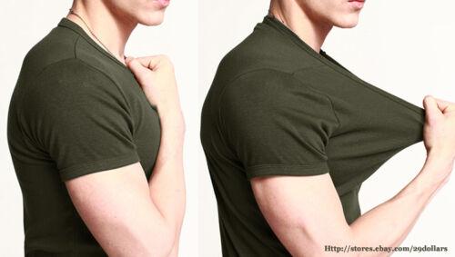 Fitted Slim Mens Basic Tee Athletic Tops T-Shirt V-Neck Short Sleeve Plain White