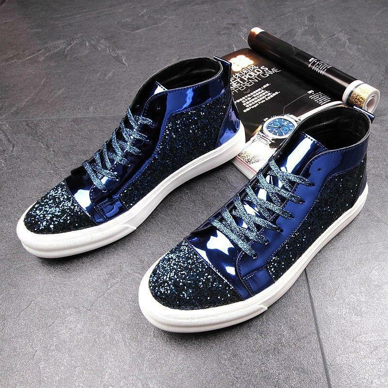 Men's Bling Sequins Hip Hop High Top Low Heel shoes Lace Up Casual Sneakers New
