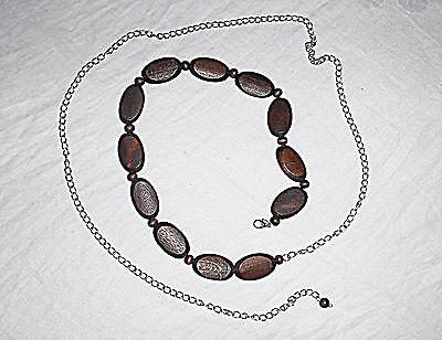 Collana Vintage Cintura Catena Di Metallo Argento Perline In Legno Marrone Goth Hippy Chic-mostra Il Titolo Originale