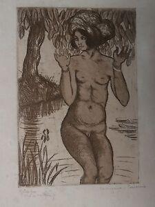Gravure-Pointe-seche-GEORGES-MANZANA-PISSARRO-Tahiti-Femme-Riviere-3