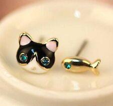 Fashion Cute Cat & Fish Stud Earring Jewelry Korea Asymmetric Stud Gift ♫