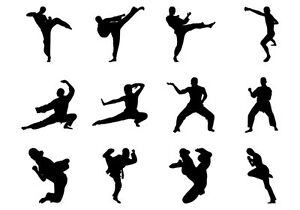Martial Arts Karate Silhouettes Edible A4 Icing Sheet