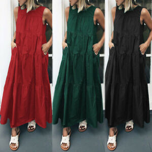 ZANZEA-Womens-Vintage-Sleeveless-Tunic-Swing-Pleated-Flared-Dress-Kaftan-Plus