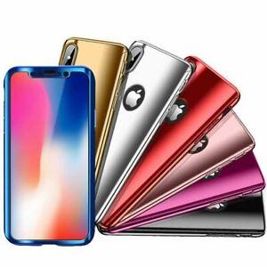 Tempered-Glass-Cover-For-iPhone-X-8-7-Plus-6s-5-Mirror-Hybrid-360-Hard-Thin-Case