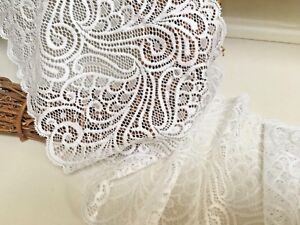 7inch-18cm-Stunning-Ivory-Swirl-Patterned-Stretch-Galloon-Lace-Trimming-Sewing