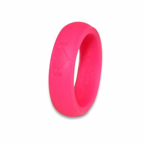 Pink Silicone Wedding Rings for Women, Bands Perfect for Crossfit, Fitness, WODs