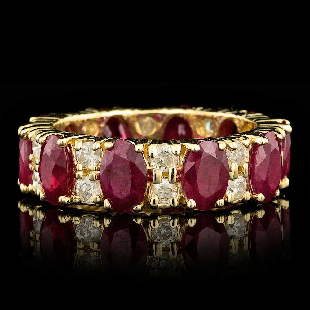 Certified 6.10cttw Ruby 1.15cttw Diamond 14KT Yellow gold Ring