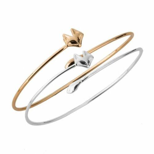 Fox Slim Bracelet Or Argent Plaque Ouvert Bracelet