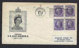 CANADA 1953 FDC: QUEEN ELIZABETH II CORONATION, BLOCK OF 4 STAMPS