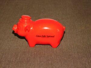 """VINTAGE 4"""" LONG GLENS FALLS NATIONAL BANK & TRUST  RED PIG PLASTIC PIGGY BANK"""