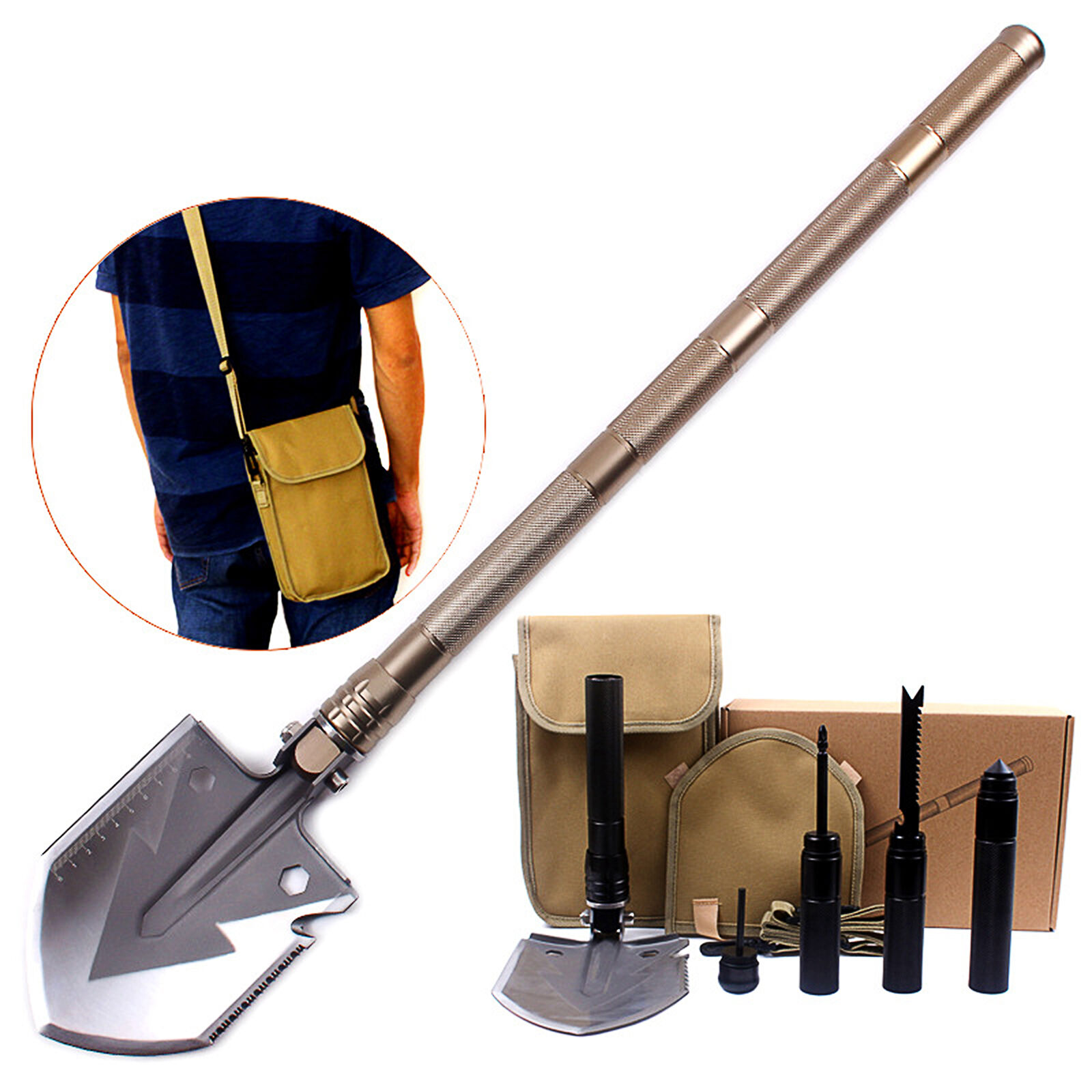 75cm Multi-function Folding Shovel ,Camping Hiking Garden Engineer  Tool  official quality