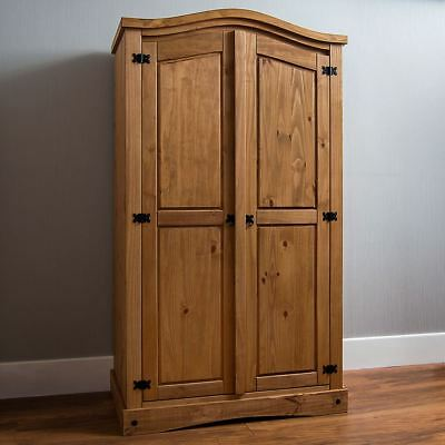 Corona 2 Door Wardrobe Solid Pine Wood Mexican Bedroom Furniture Storage Arc Top