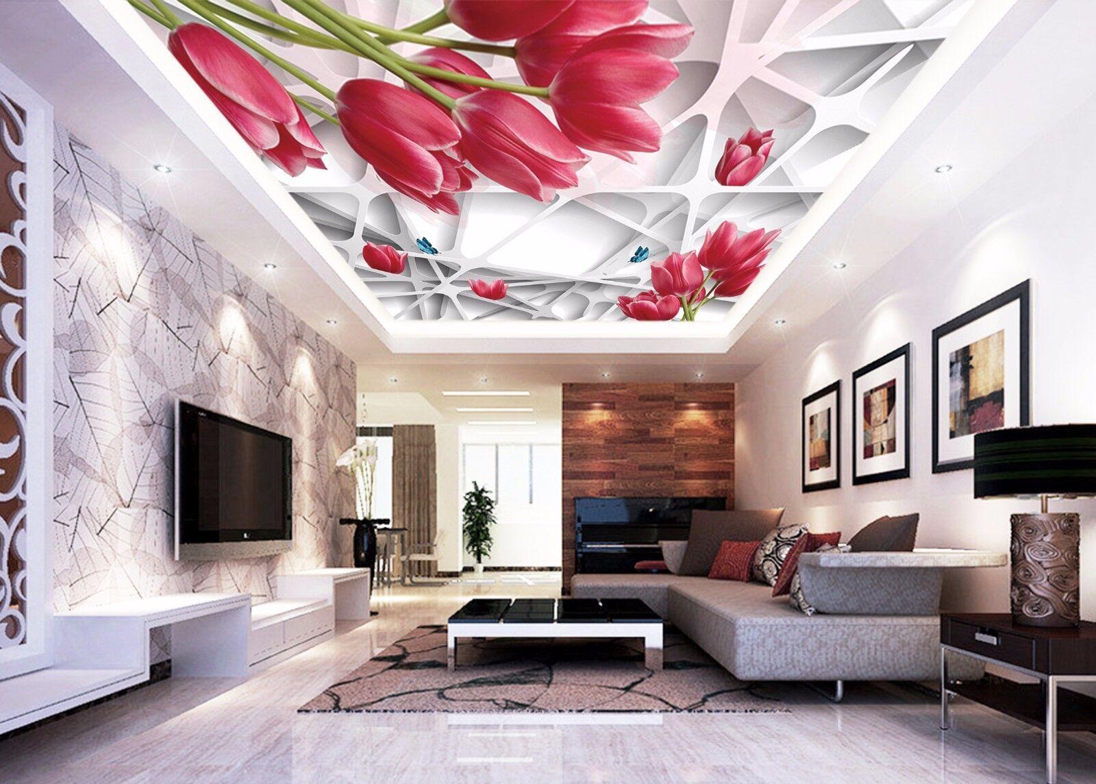 3D Red Tulips 743 Ceiling WallPaper Murals Wall Print Decal Deco AJ WALLPAPER GB
