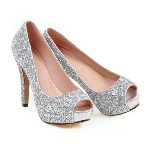Women/'s High Heels Pumps Open Toe Wedding Party Glitter Sequins Platform Shoes