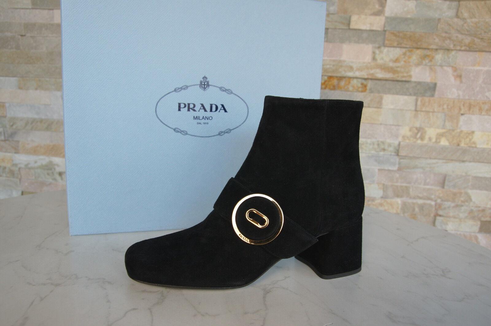 Prada Prada Prada 37 Bottines Bottes Chaussures 1T740H Noir Neuf Autrefois 05260f