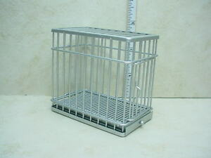 Dollhouse Miniature Dog Cage - Small- Galvanized Metal-1/12th Scale #EIWF307