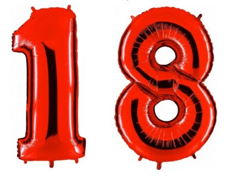18 anni PALLONCINO Mylar 18 ANNI NUMERO FESTA COMPLEANNO Colore ROSSO 101cm