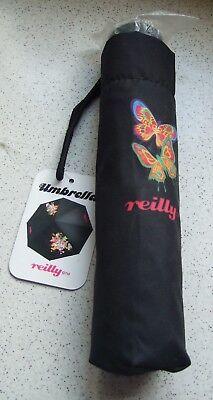 Bnwt Reilly Nero Retrò Con Motivi Ombrello-