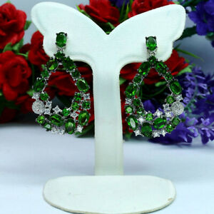 NATURAL-GREEN-CHROME-DIOPSIDE-amp-CZ-LONG-EARRINGS-925-STERLING-SILVER
