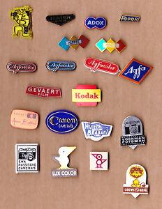 Vintage CAMERA PHOTO FILM stick pin badges 1960s Logo Foto Fuji Canon Kodak Agfa