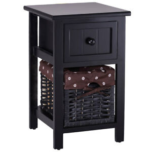2 Tier Nightstand 1 Drawer Bedside End Table Organizer Wood W