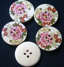 Pack of 1 5x4.5mm Chicken Vizzy Novelty Wooden Buttons Multicolour