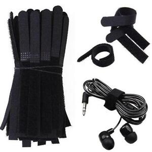 100PCS-REUSABLE-SILVERLINE-PACK-BLACK-HOOK-LOOP-CABLE-CORD-TIES-TIDY-STRAPS-POUR